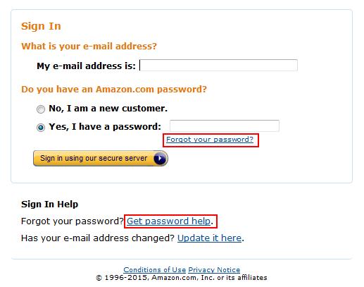 Amazon password reset step 2