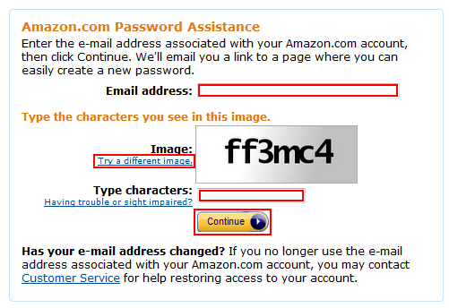 Amazon password reset step 3