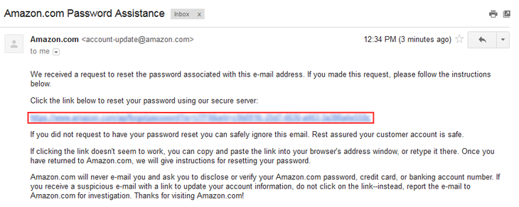 Amazon password reset step 4