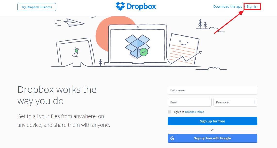 Dropbox password recovery step 1