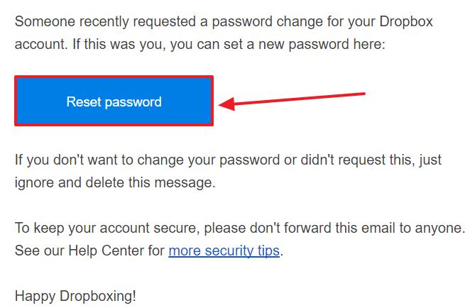 Dropbox password recovery step 5