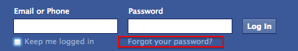 Facebook password recovery step 1