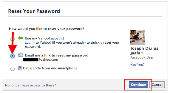 Facebook password recovery step 2