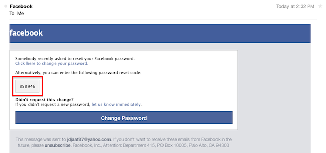 Facebook password recovery step 3