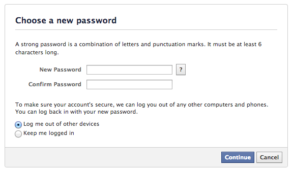 Facebook password recovery step 5