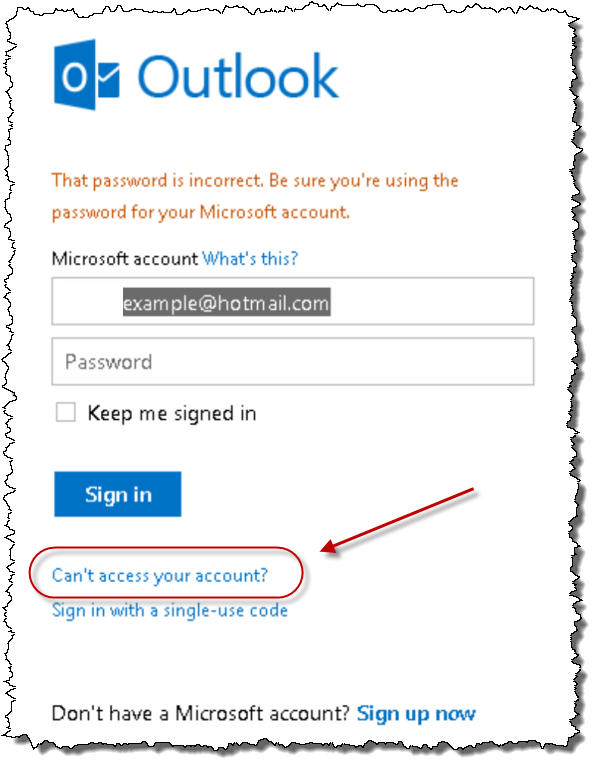 Hotmail password recovery step 1