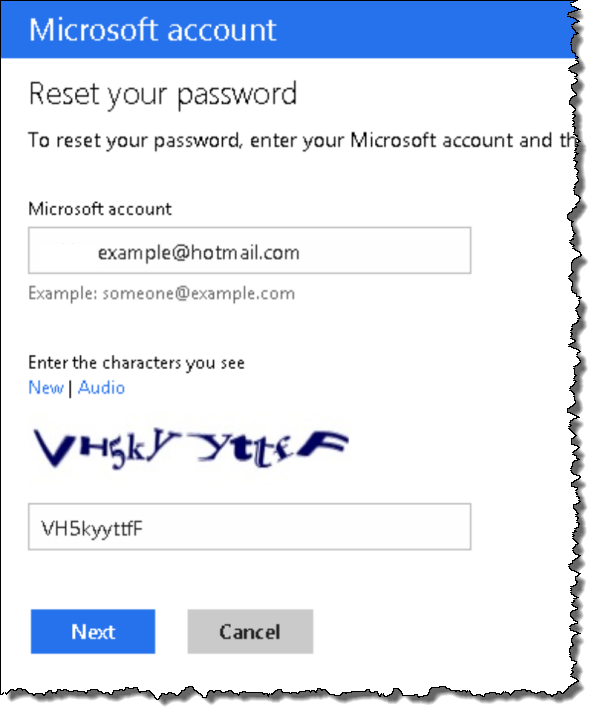 Hotmail password recovery step 2