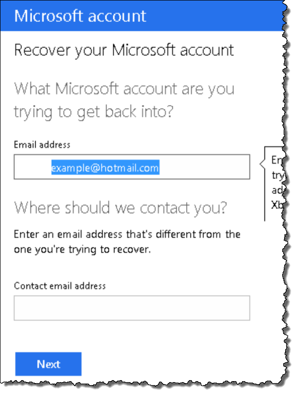 Hotmail password recovery step 5