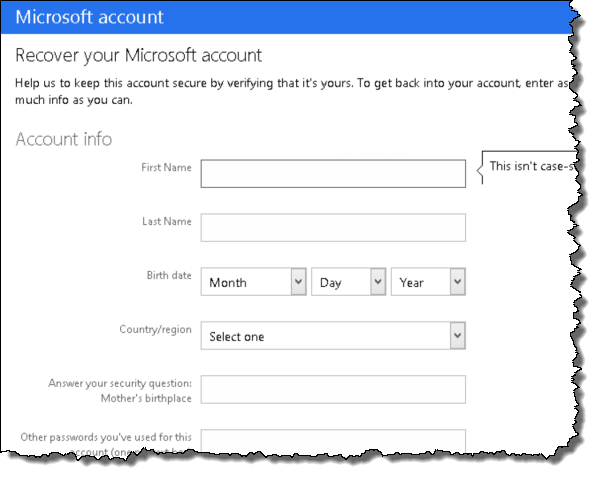 Hotmail password recovery step 6
