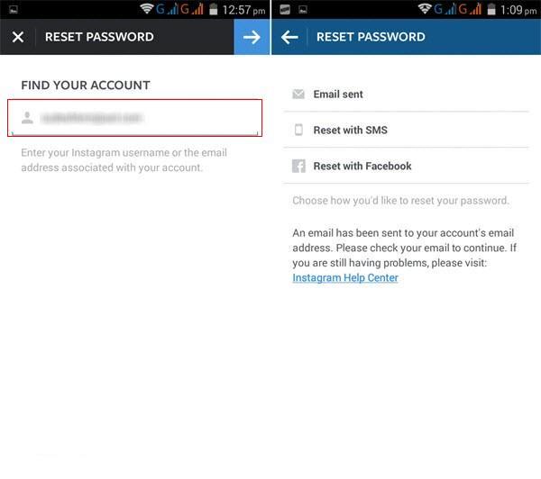 Instagram password recovery step 3
