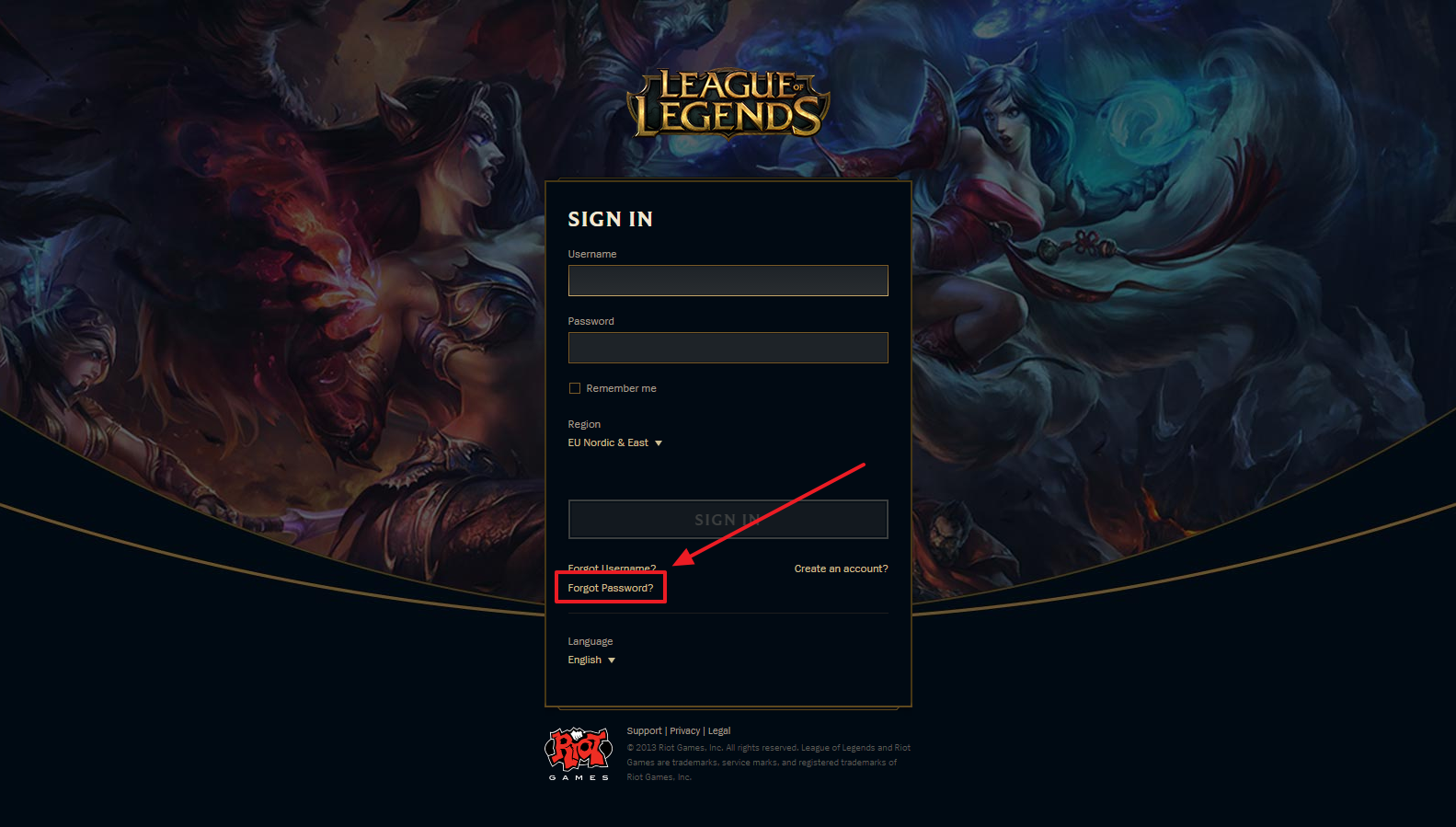 League Of Legends Forgot PaГџword