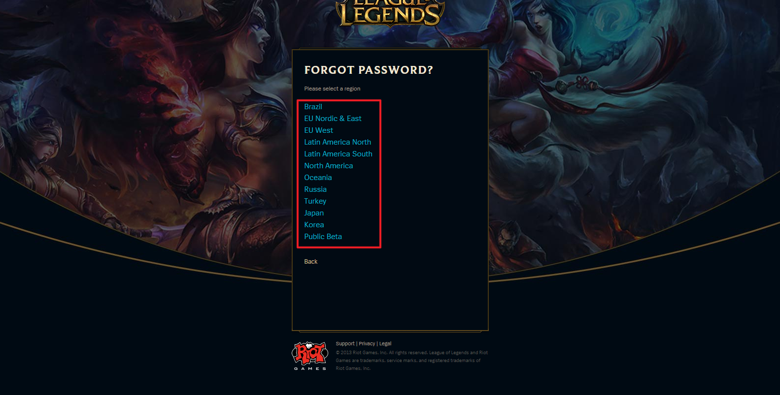 League of Legends password recovery step 3
