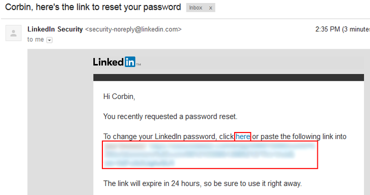 LinkedIn password recovery step 3