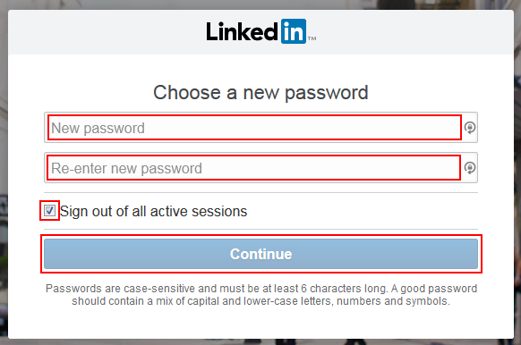 LinkedIn password recovery step 4