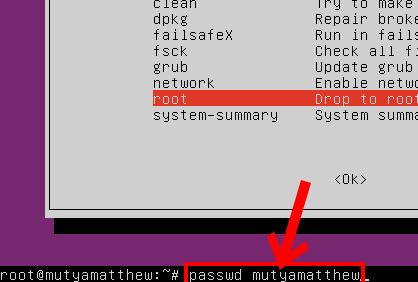 Linux password recovery step 3