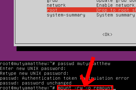 Linux password recovery step 4