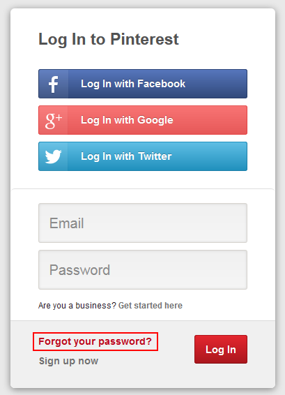 Pinterest password recovery step 1