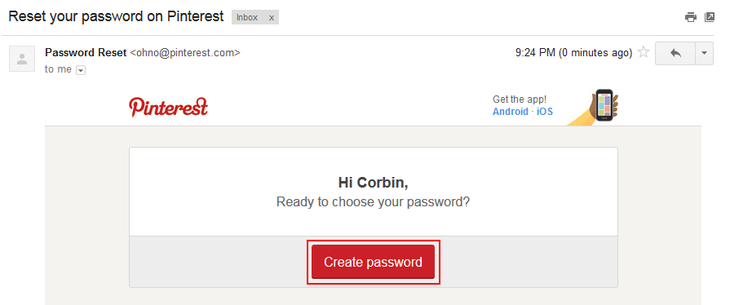 Pinterest password recovery step 3