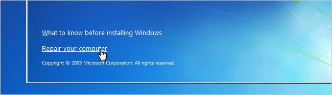 Windows 7 password recovery step 2