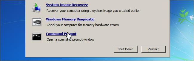 Windows 7 password recovery step 3