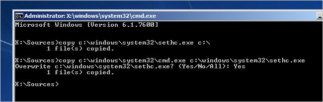 Windows 7 password recovery step 4